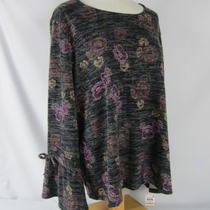 Style & Co Boho Gray Floral Sweater Bell Sleeve 2X